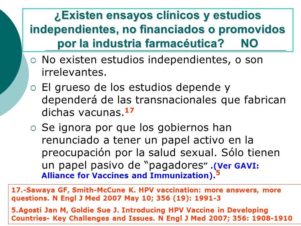 ¿Existen ensayos clínicos y estudios independientes, no financiados o promovidos por la industria farmacéutica.