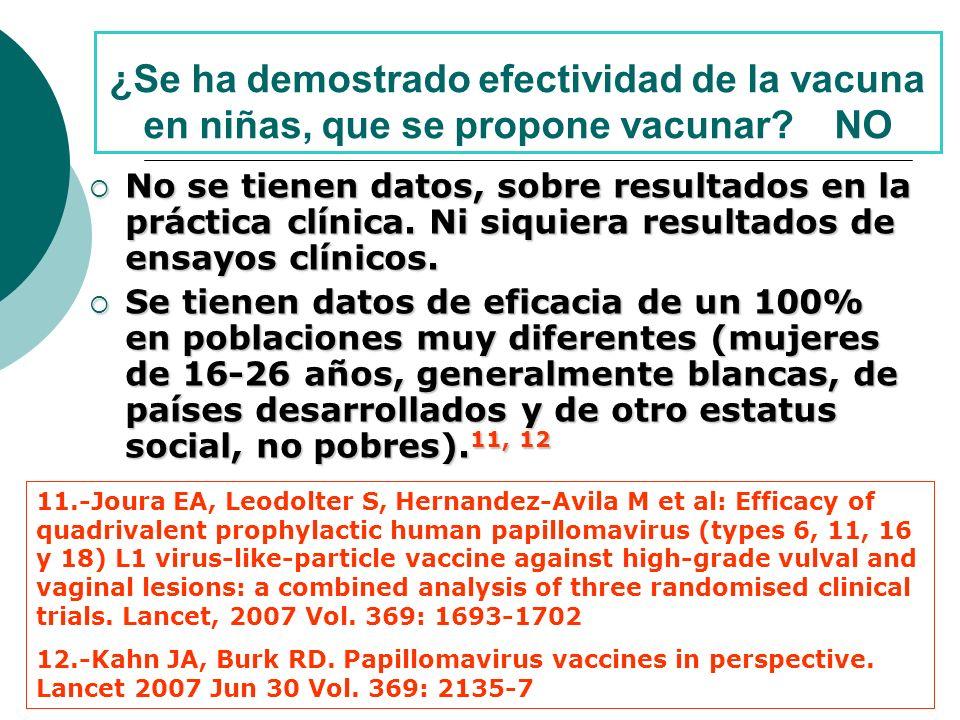 ¿Se ha demostrado efectividad de la vacuna en niñas, que se propone vacunar.