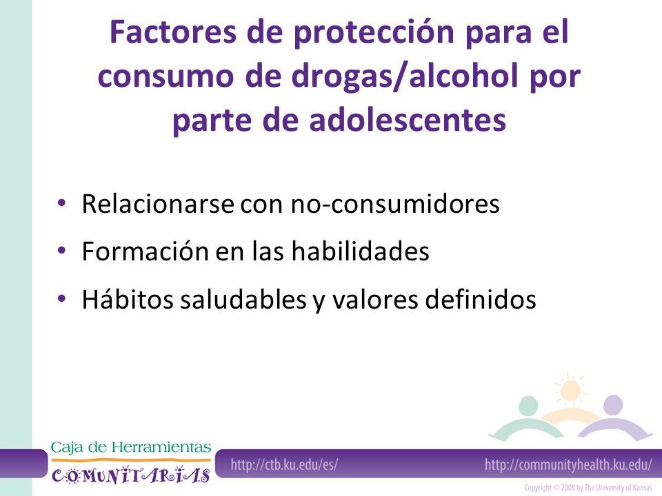 Factores de protección para el consumo de drogas/alcohol por parte de adolescentes Relacionarse con no-consumidores Formación en las habilidades Hábitos saludables y valores definidos