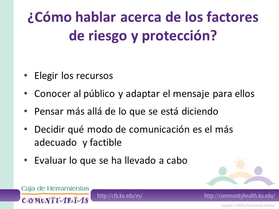¿Cómo hablar acerca de los factores de riesgo y protección? Elegir los recursos Conocer al público y adaptar el mensaje para ellos Pensar más allá de