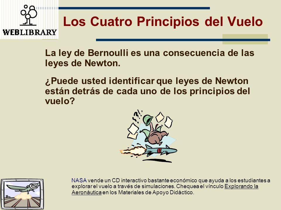 Los Cuatro Principios del Vuelo La ley de Bernoulli es una consecuencia de las leyes de Newton. ¿Puede usted identificar que leyes de Newton están det