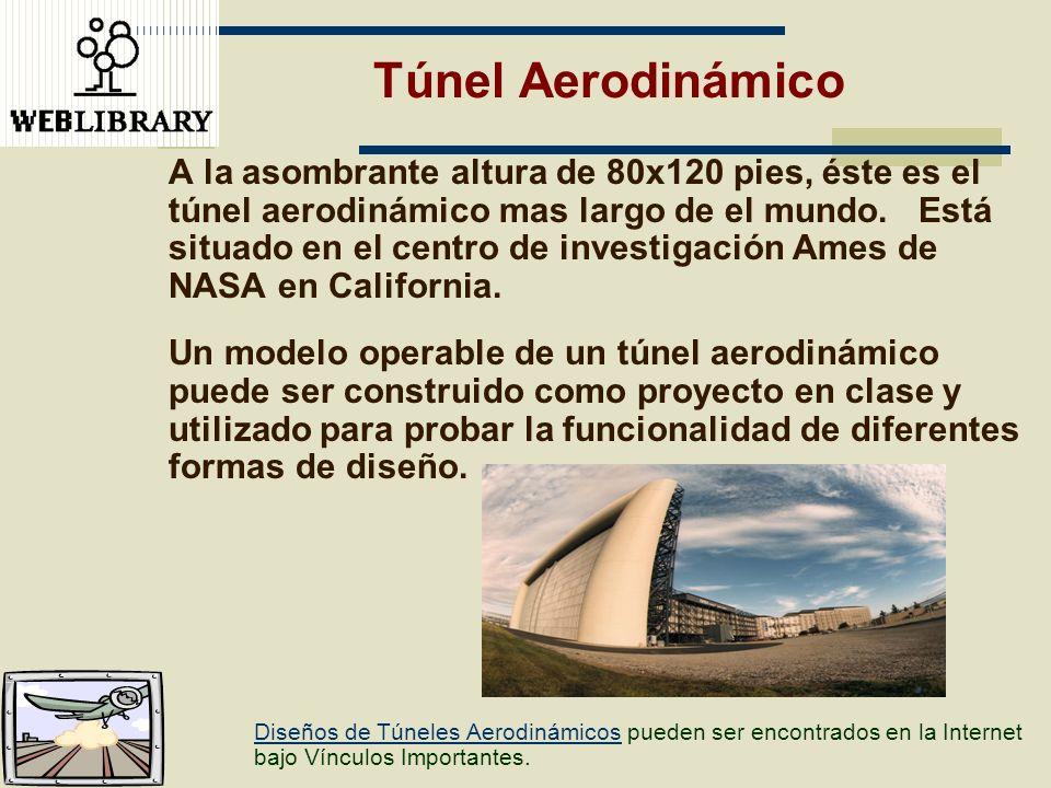 Túnel Aerodinámico A la asombrante altura de 80x120 pies, éste es el túnel aerodinámico mas largo de el mundo. Está situado en el centro de investigac