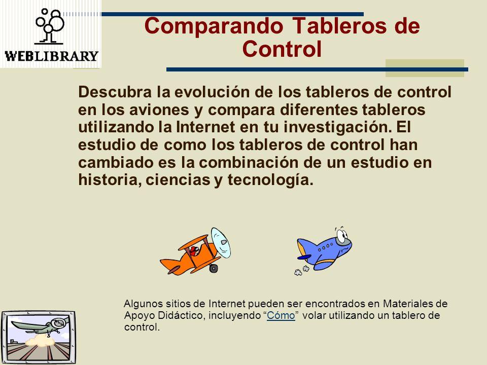 Comparando Tableros de Control Descubra la evolución de los tableros de control en los aviones y compara diferentes tableros utilizando la Internet en
