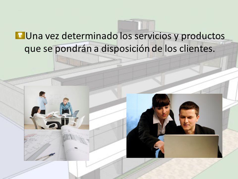 Una vez determinado los servicios y productos que se pondrán a disposición de los clientes.
