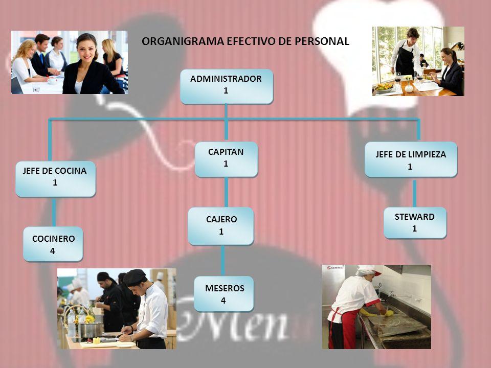 JEFE DE COCINA 1 JEFE DE COCINA 1 CAPITAN 1 CAPITAN 1 JEFE DE LIMPIEZA 1 COCINERO 4 CAJERO 1 CAJERO 1 STEWARD 1 STEWARD 1 ADMINISTRADOR 1 ADMINISTRADO