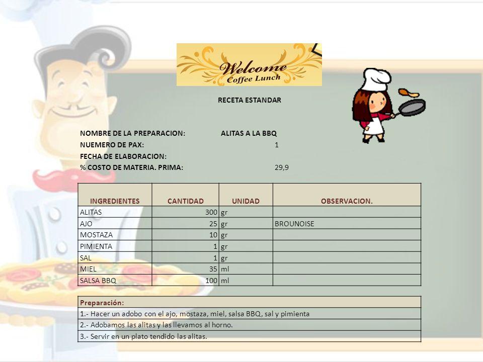 RECETA ESTANDAR NOMBRE DE LA PREPARACION:ALITAS A LA BBQ NUEMERO DE PAX:1 FECHA DE ELABORACION: % COSTO DE MATERIA. PRIMA:29,9 INGREDIENTESCANTIDADUNI