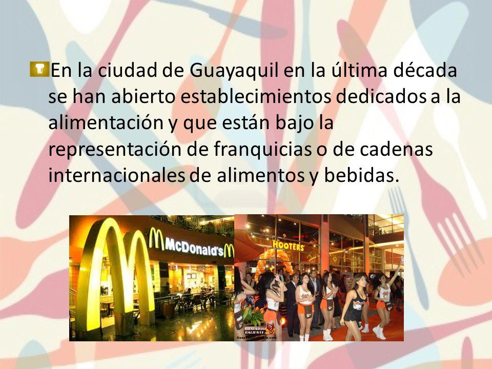 En la ciudad de Guayaquil en la última década se han abierto establecimientos dedicados a la alimentación y que están bajo la representación de franqu