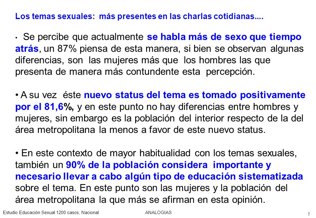Estudio Educación Sexual 1200 casos, NacionalANALOGIAS 6 La educación sexual en la escuela....