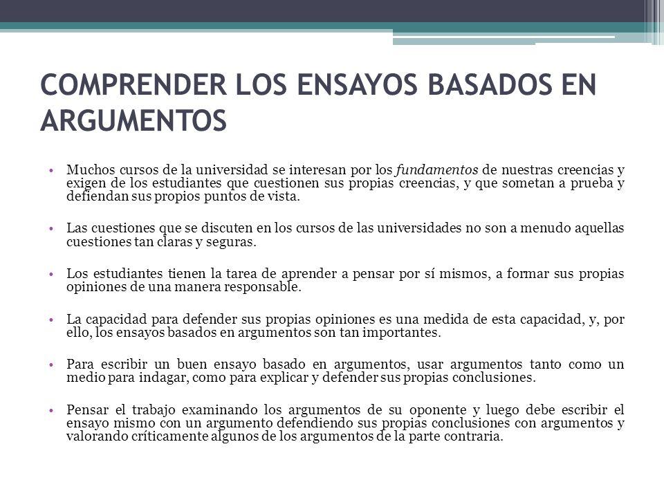 COMPOSICIÓN DE UN ARGUMENTO Distinga entre premisas y conclusión.