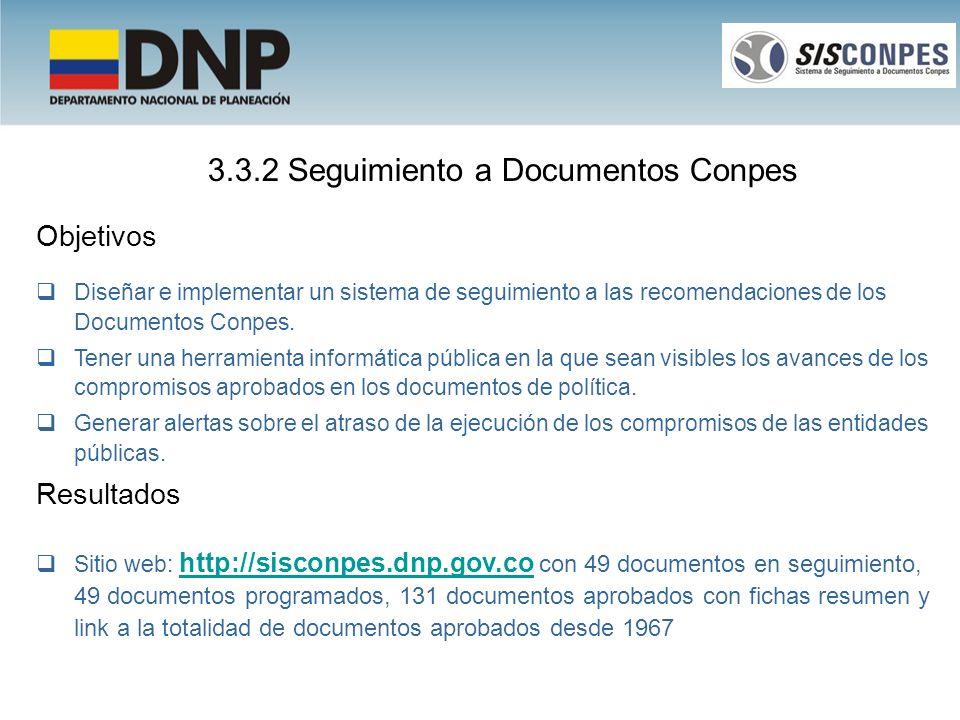 Objetivos Diseñar e implementar un sistema de seguimiento a las recomendaciones de los Documentos Conpes. Tener una herramienta informática pública en