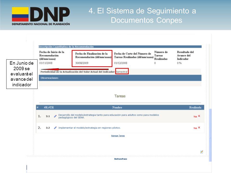 En Junio de 2009 se evaluará el avance del indicador 4. El Sistema de Seguimiento a Documentos Conpes