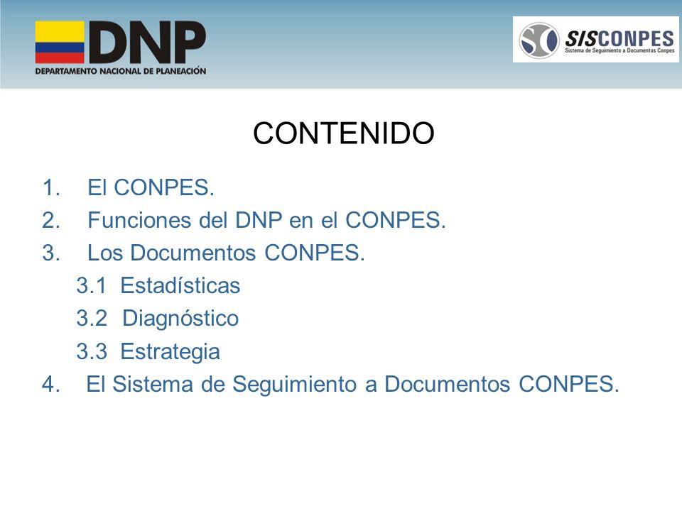 CONTENIDO 1.El CONPES. 2.Funciones del DNP en el CONPES. 3.Los Documentos CONPES. 3.1 Estadísticas 3.2 Diagnóstico 3.3 Estrategia 4. El Sistema de Seg