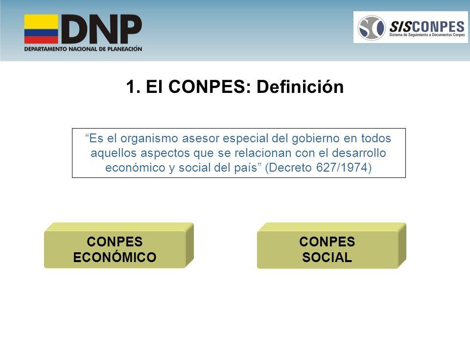 1. El CONPES: Definición Es el organismo asesor especial del gobierno en todos aquellos aspectos que se relacionan con el desarrollo económico y socia