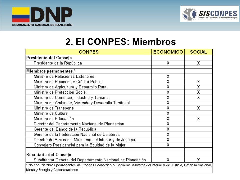 2. El CONPES: Miembros