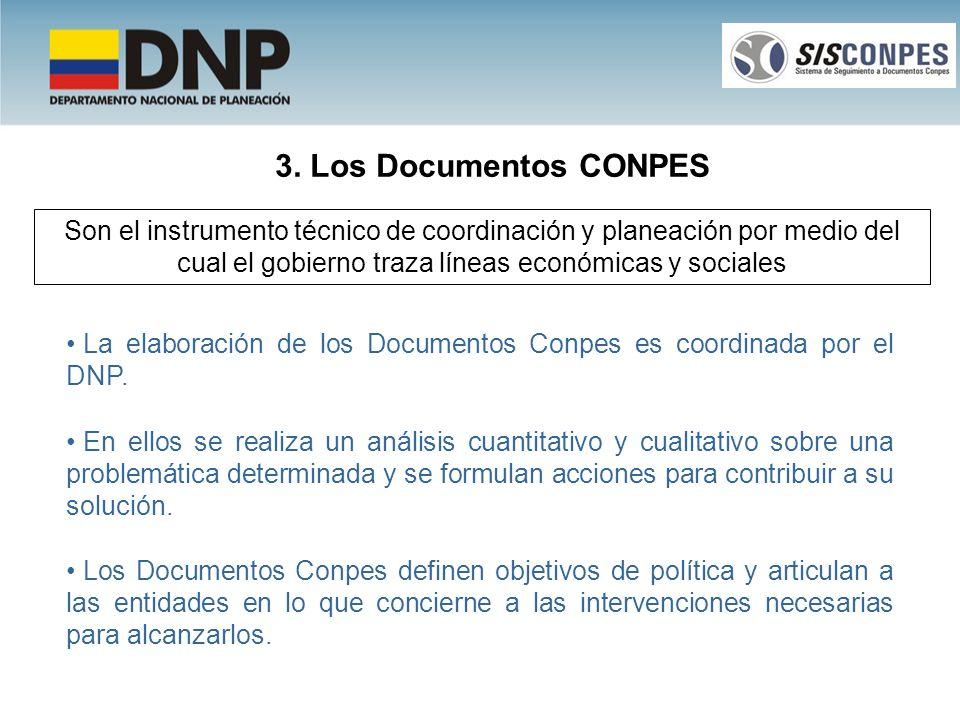 3. Los Documentos CONPES Son el instrumento técnico de coordinación y planeación por medio del cual el gobierno traza líneas económicas y sociales La
