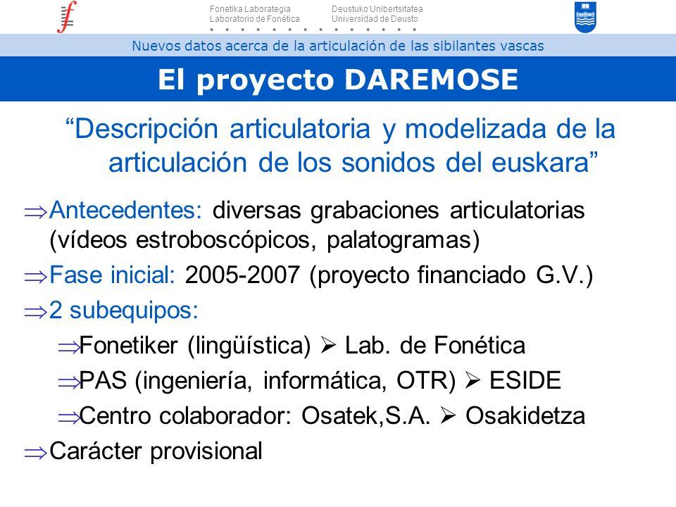El proyecto DAREMOSE Descripción articulatoria y modelizada de la articulación de los sonidos del euskara Antecedentes: diversas grabaciones articulat