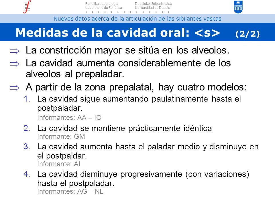 Medidas de la cavidad oral: (2/2) La constricción mayor se sitúa en los alveolos. La cavidad aumenta considerablemente de los alveolos al prepaladar.