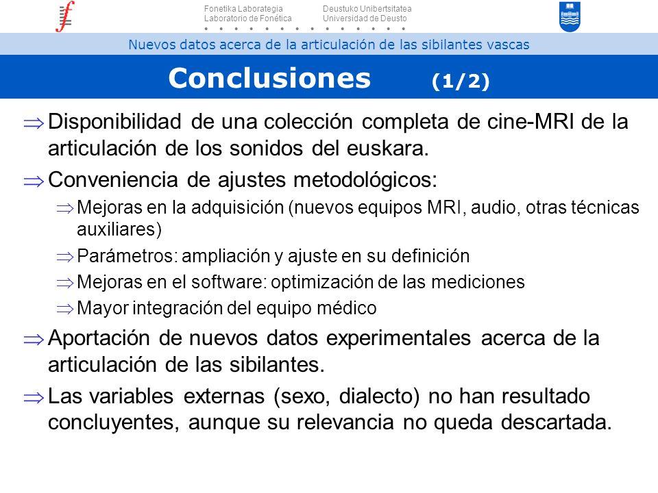 Conclusiones (1/2) Disponibilidad de una colección completa de cine-MRI de la articulación de los sonidos del euskara. Conveniencia de ajustes metodol