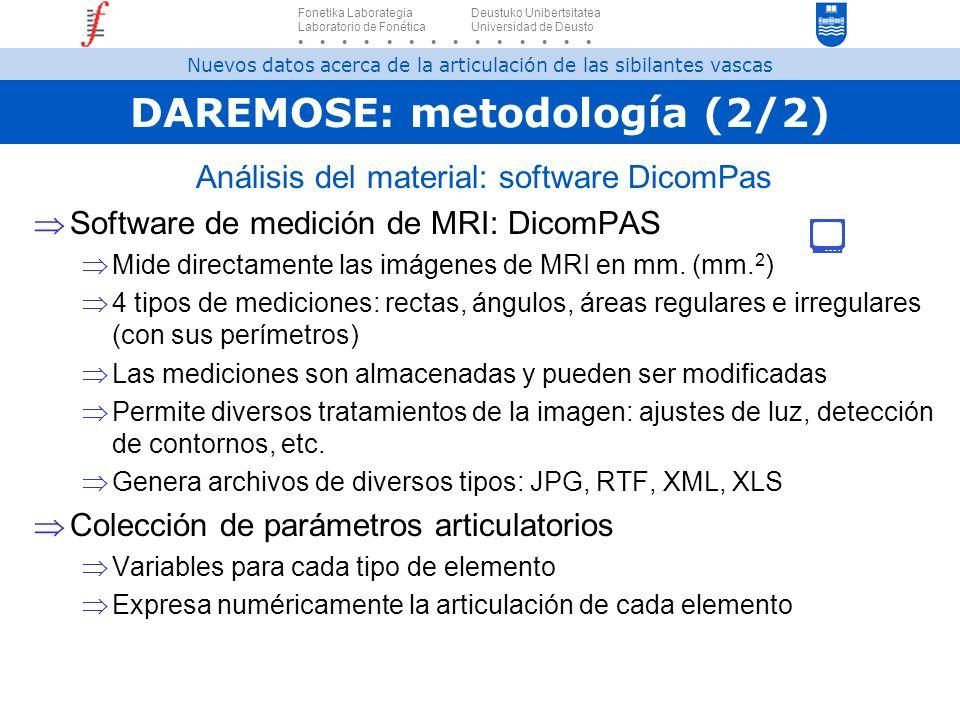 DAREMOSE: metodología (2/2) Análisis del material: software DicomPas Software de medición de MRI: DicomPAS Mide directamente las imágenes de MRI en mm