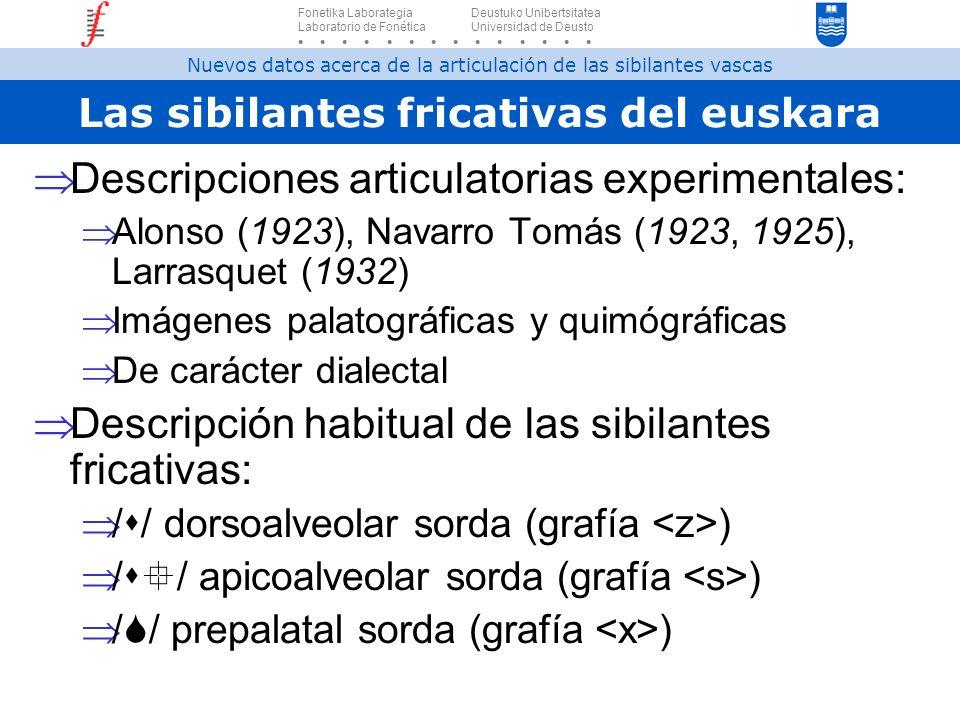 Las sibilantes fricativas del euskara Descripciones articulatorias experimentales: Alonso (1923), Navarro Tomás (1923, 1925), Larrasquet (1932) Imágen