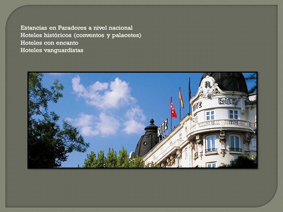 Estancias en Paradores a nivel nacional Hoteles históricos (conventos y palacetes) Hoteles con encanto Hoteles vanguardistas