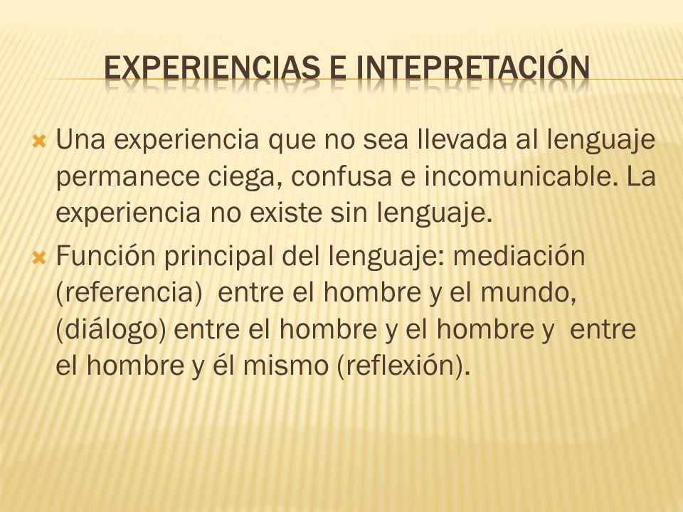 Una experiencia que no sea llevada al lenguaje permanece ciega, confusa e incomunicable.