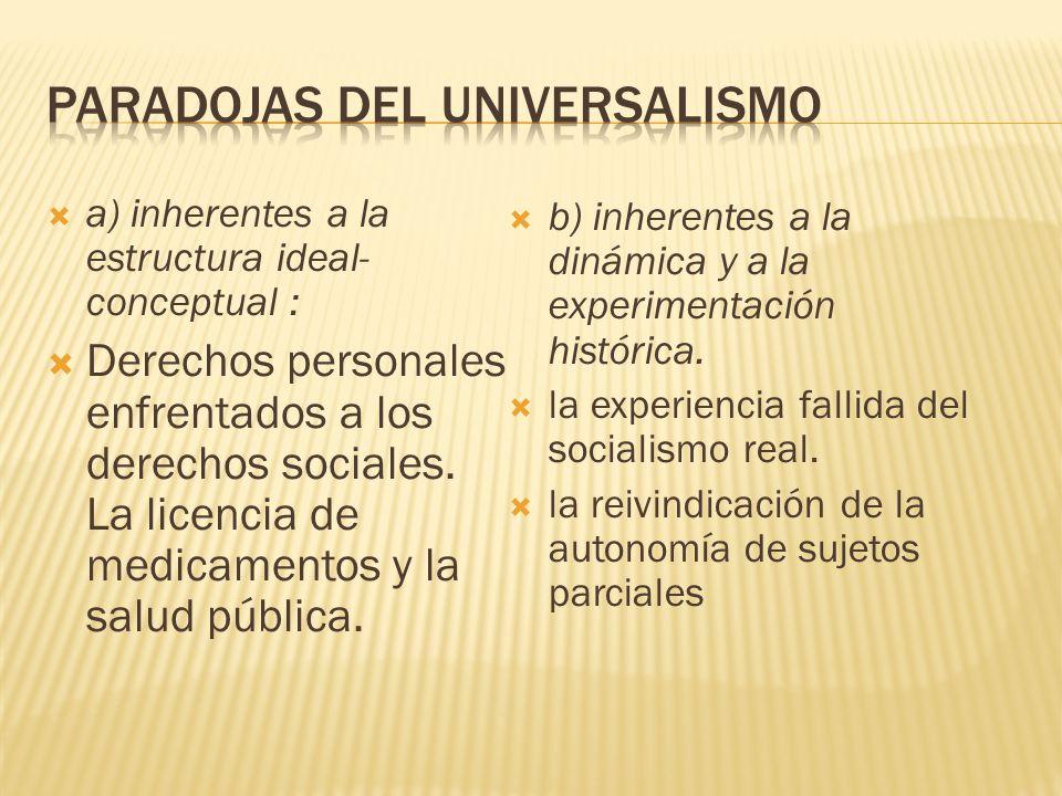 a) inherentes a la estructura ideal- conceptual : Derechos personales enfrentados a los derechos sociales.