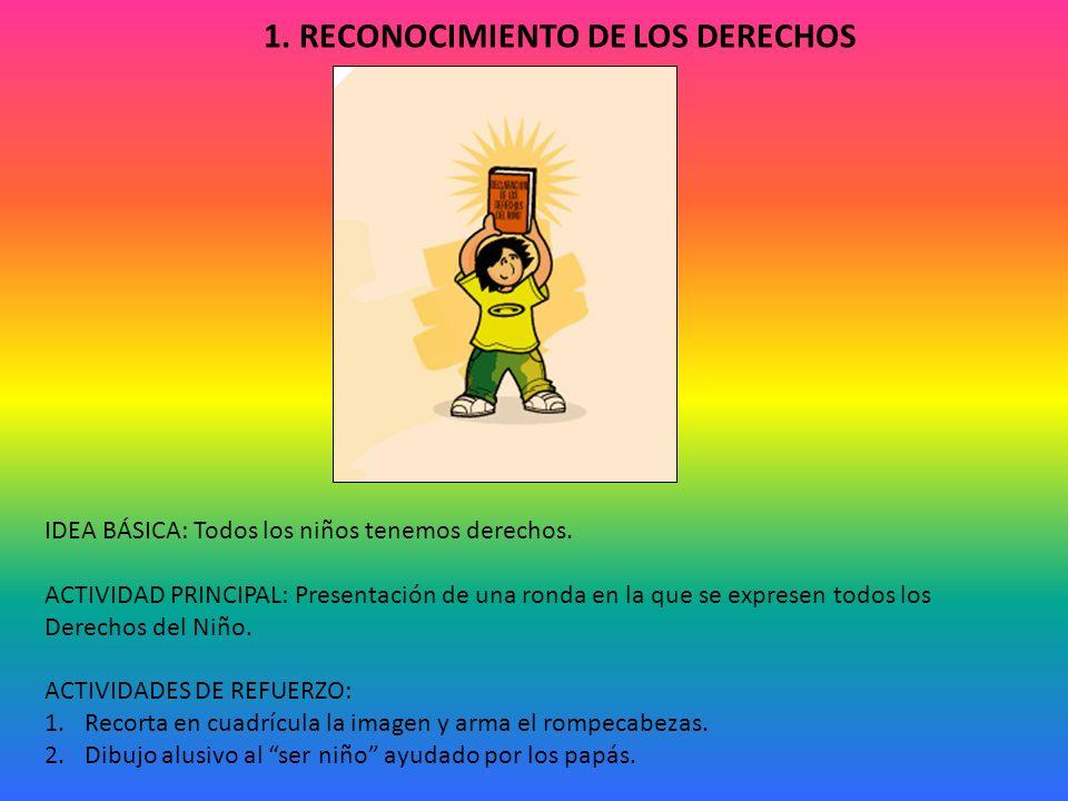 1.RECONOCIMIENTO DE LOS DERECHOS IDEA BÁSICA: Todos los niños tenemos derechos.