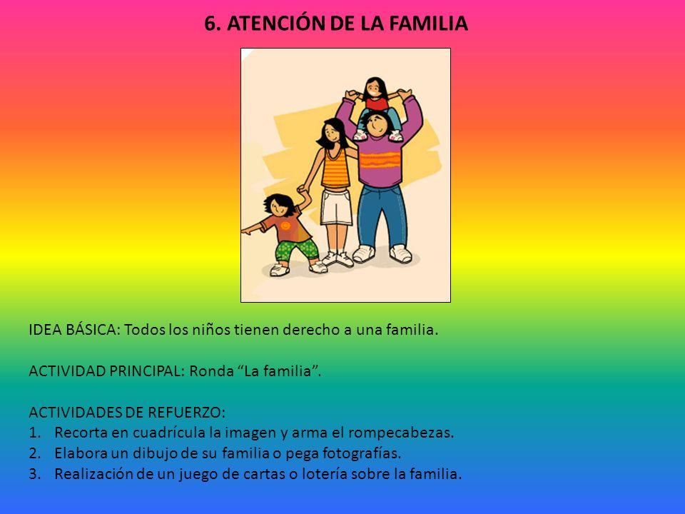 6.ATENCIÓN DE LA FAMILIA IDEA BÁSICA: Todos los niños tienen derecho a una familia.
