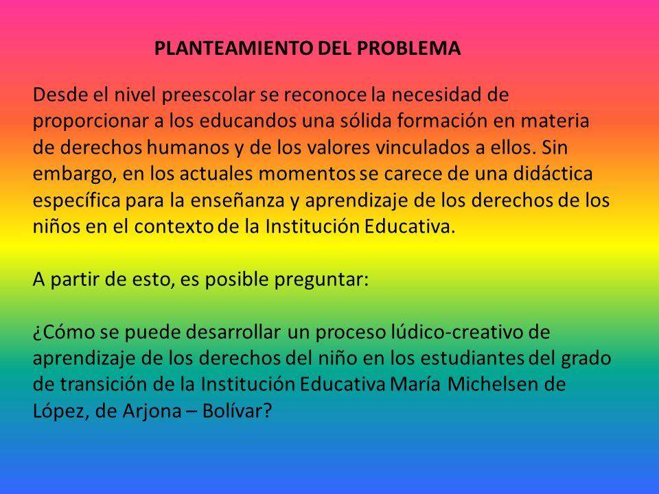 PLANTEAMIENTO DEL PROBLEMA Desde el nivel preescolar se reconoce la necesidad de proporcionar a los educandos una sólida formación en materia de derechos humanos y de los valores vinculados a ellos.