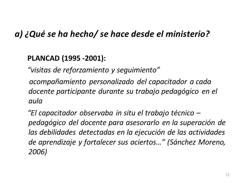 a) ¿Qué se ha hecho/ se hace desde el ministerio? PLANCAD (1995 -2001): visitas de reforzamiento y seguimiento acompañamiento personalizado del capaci