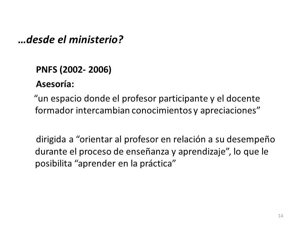 …desde el ministerio? PNFS (2002- 2006) Asesoría: un espacio donde el profesor participante y el docente formador intercambian conocimientos y aprecia