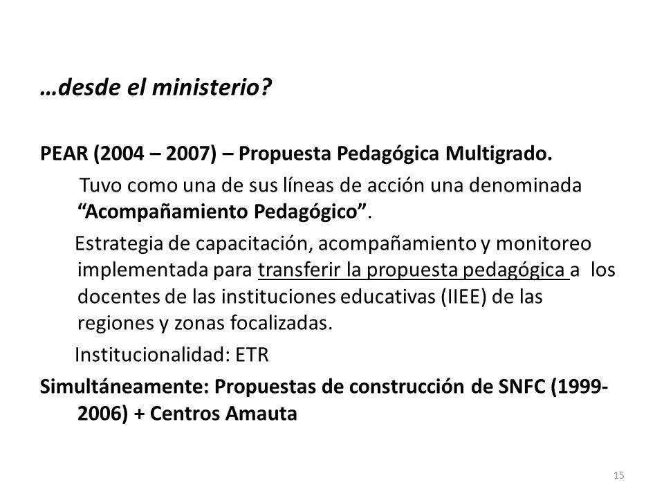 …desde el ministerio? PEAR (2004 – 2007) – Propuesta Pedagógica Multigrado. Tuvo como una de sus líneas de acción una denominada Acompañamiento Pedagó
