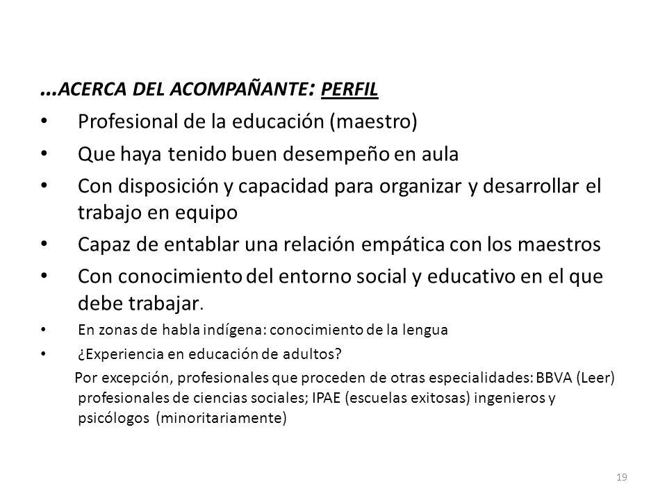 … ACERCA DEL ACOMPAÑANTE : PERFIL Profesional de la educación (maestro) Que haya tenido buen desempeño en aula Con disposición y capacidad para organi