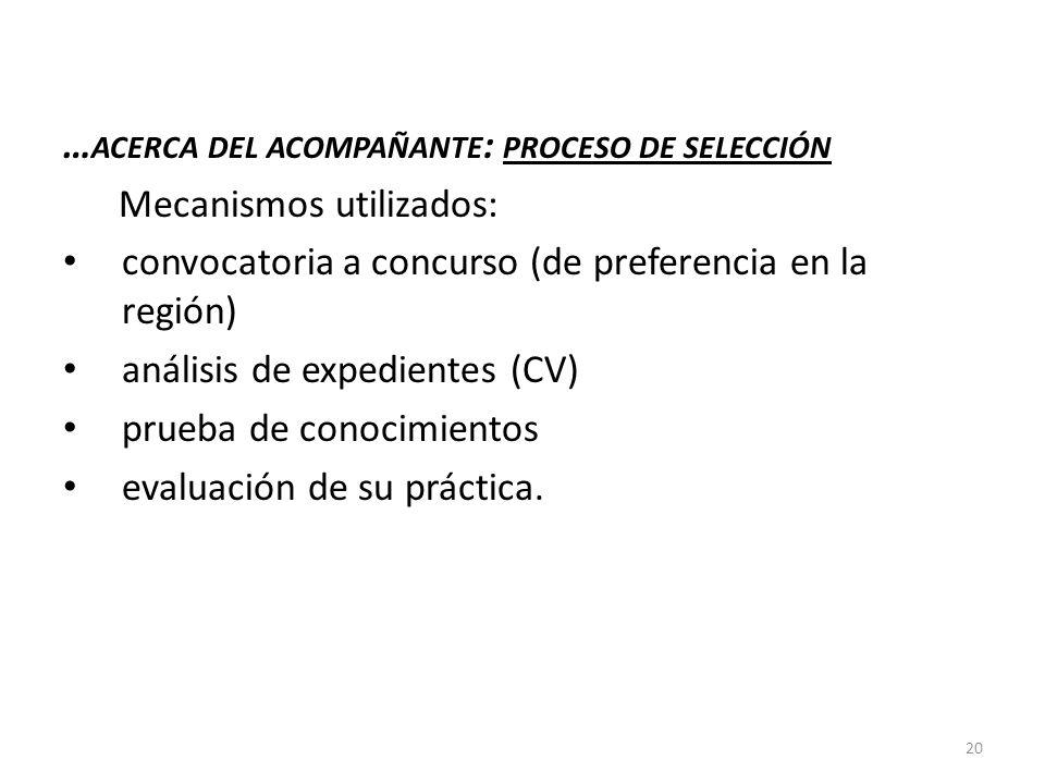 … ACERCA DEL ACOMPAÑANTE : PROCESO DE SELECCIÓN Mecanismos utilizados: convocatoria a concurso (de preferencia en la región) análisis de expedientes (