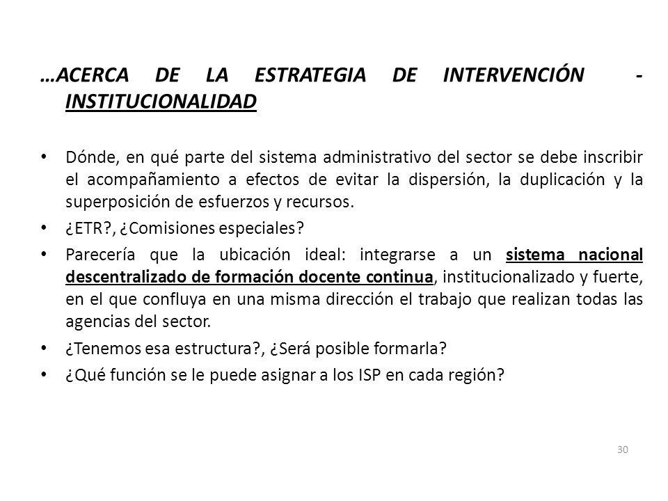 …ACERCA DE LA ESTRATEGIA DE INTERVENCIÓN - INSTITUCIONALIDAD Dónde, en qué parte del sistema administrativo del sector se debe inscribir el acompañami