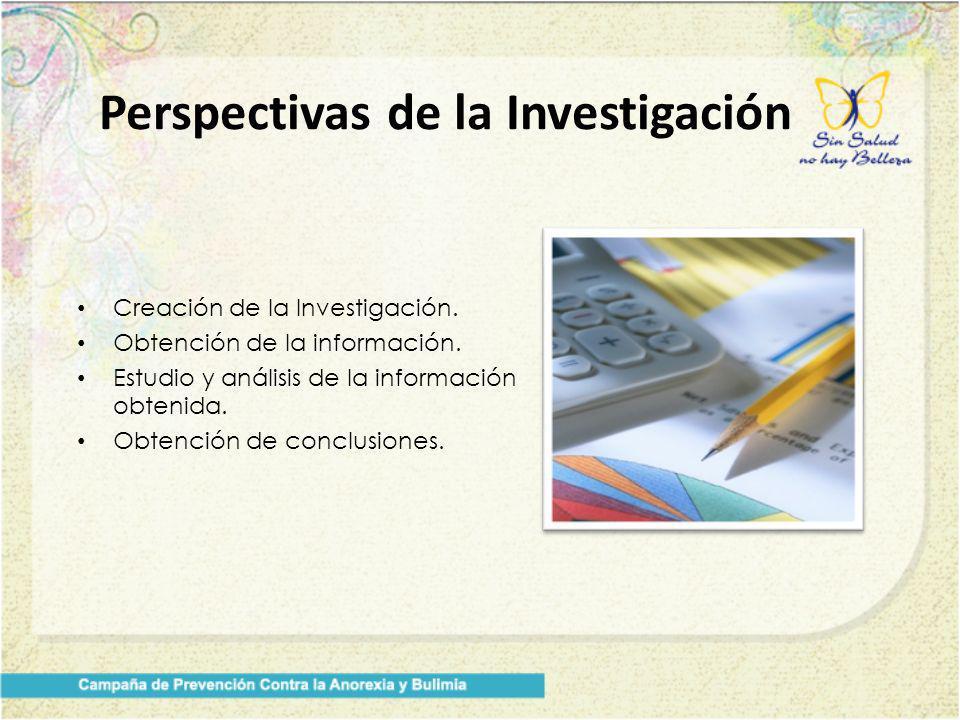 Creación de la Investigación. Obtención de la información. Estudio y análisis de la información obtenida. Obtención de conclusiones. Perspectivas de l