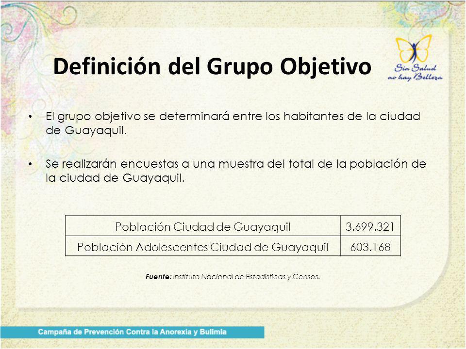 El grupo objetivo se determinará entre los habitantes de la ciudad de Guayaquil. Se realizarán encuestas a una muestra del total de la población de la