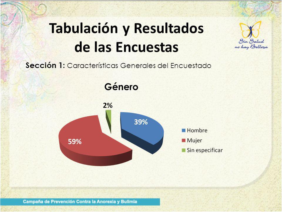 Tabulación y Resultados de las Encuestas Sección 1: Características Generales del Encuestado Género