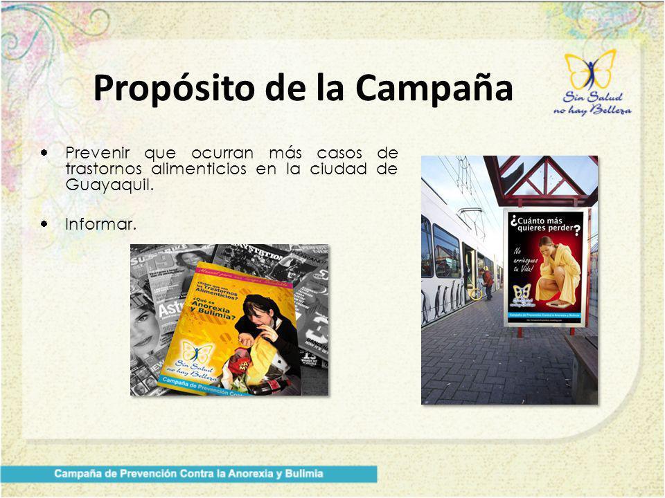 Prevenir que ocurran más casos de trastornos alimenticios en la ciudad de Guayaquil. Informar. Propósito de la Campaña