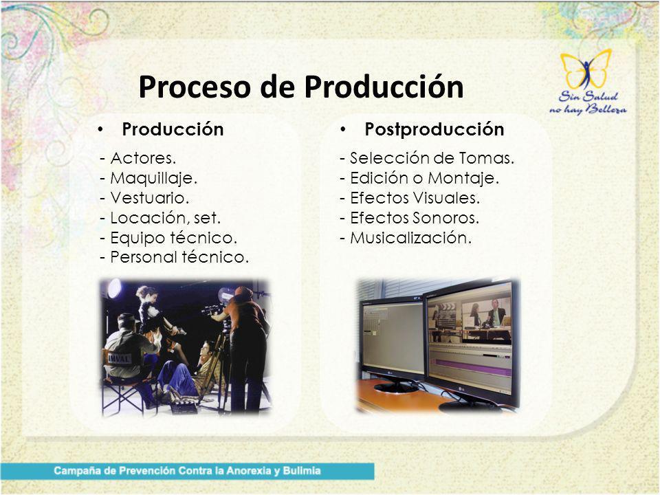 Proceso de Producción Producción - Actores. - Maquillaje. - Vestuario. - Locación, set. - Equipo técnico. - Personal técnico. Postproducción - Selecci