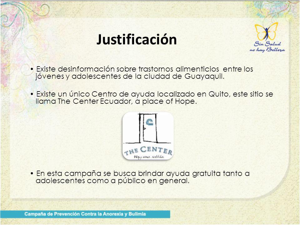 Existe desinformación sobre trastornos alimenticios entre los jóvenes y adolescentes de la ciudad de Guayaquil. Existe un único Centro de ayuda locali