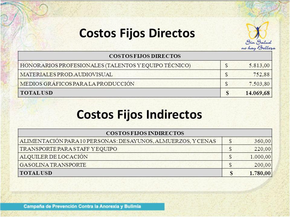Costos Fijos Directos COSTOS FIJOS DIRECTOS HONORARIOS PROFESIONALES (TALENTOS Y EQUIPO TÉCNICO)$ 5.813,00 MATERIALES PROD.AUDIOVISUAL$ 752,88 MEDIOS GRÁFICOS PARA LA PRODUCCIÓN$ 7.503,80 TOTAL USD $ 14.069,68 Costos Fijos Indirectos COSTOS FIJOS INDIRECTOS ALIMENTACIÓN PARA 10 PERSONAS: DESAYUNOS, ALMUERZOS, Y CENAS$ 360,00 TRANSPORTE PARA STAFF Y EQUIPO$ 220,00 ALQUILER DE LOCACIÓN$ 1.000,00 GASOLINA TRANSPORTE$ 200,00 TOTAL USD $ 1.780,00
