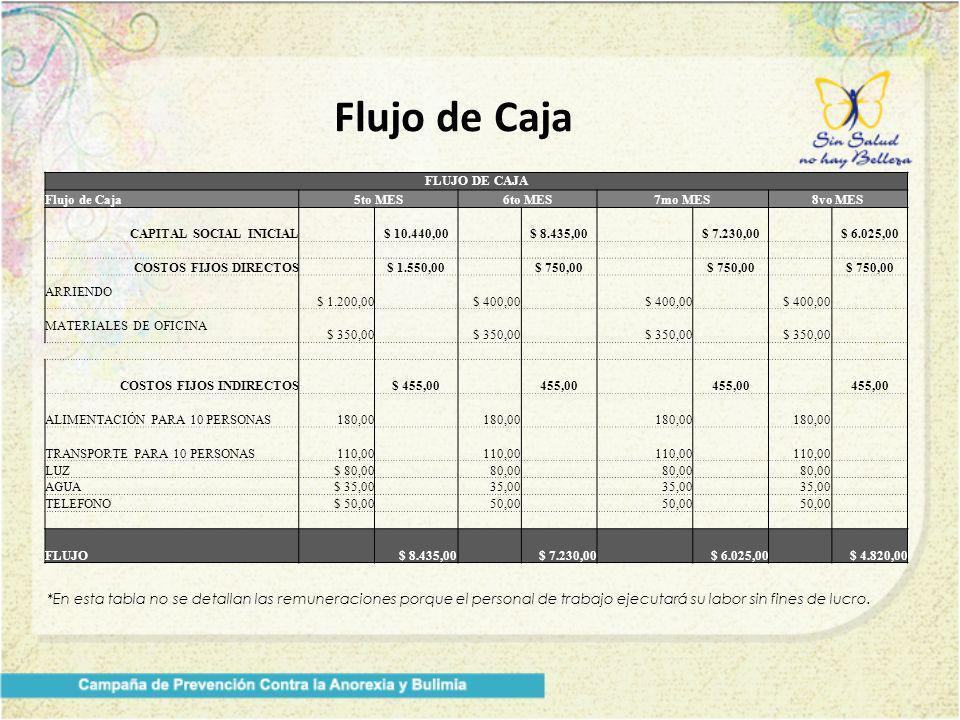 Flujo de Caja *En esta tabla no se detallan las remuneraciones porque el personal de trabajo ejecutará su labor sin fines de lucro. FLUJO DE CAJA Fluj