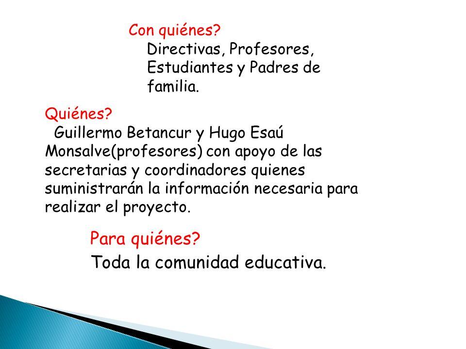 Quiénes? Guillermo Betancur y Hugo Esaú Monsalve(profesores) con apoyo de las secretarias y coordinadores quienes suministrarán la información necesar