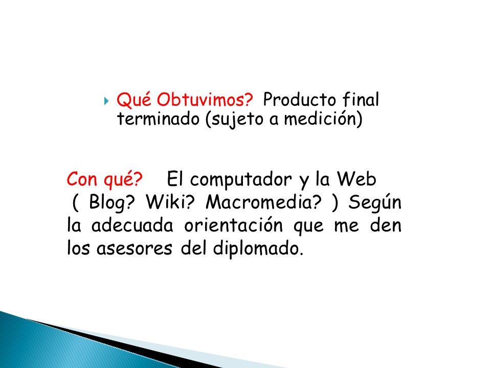 Qué Obtuvimos? Producto final terminado (sujeto a medición) Con qué? El computador y la Web ( Blog? Wiki? Macromedia? ) Según la adecuada orientación
