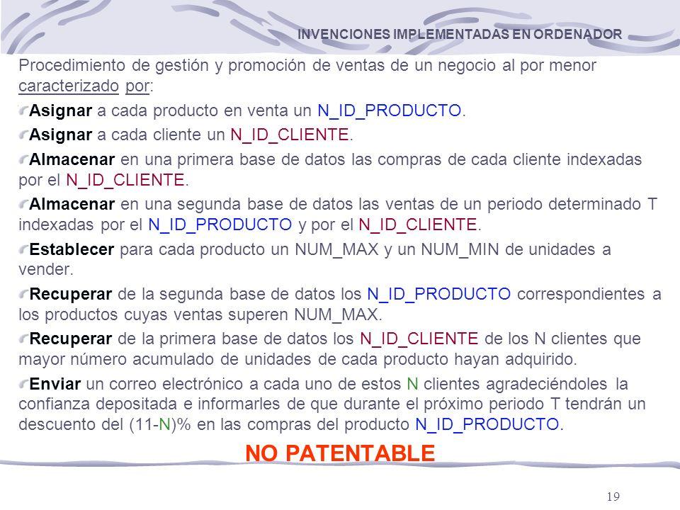 19 INVENCIONES IMPLEMENTADAS EN ORDENADOR Procedimiento de gestión y promoción de ventas de un negocio al por menor caracterizado por: Asignar a cada producto en venta un N_ID_PRODUCTO.