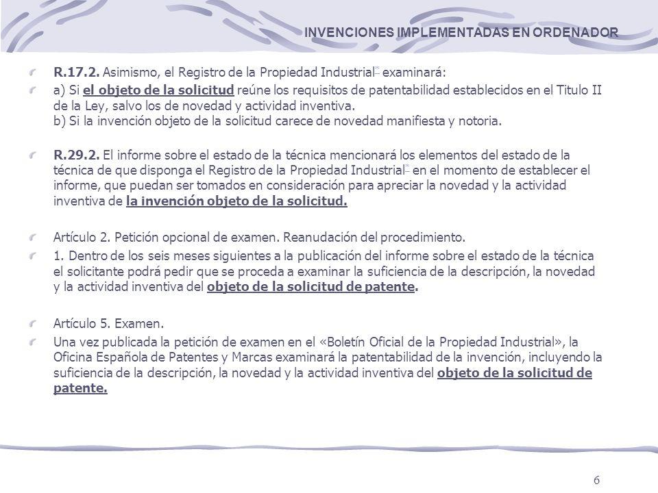 6 INVENCIONES IMPLEMENTADAS EN ORDENADOR R.17.2.