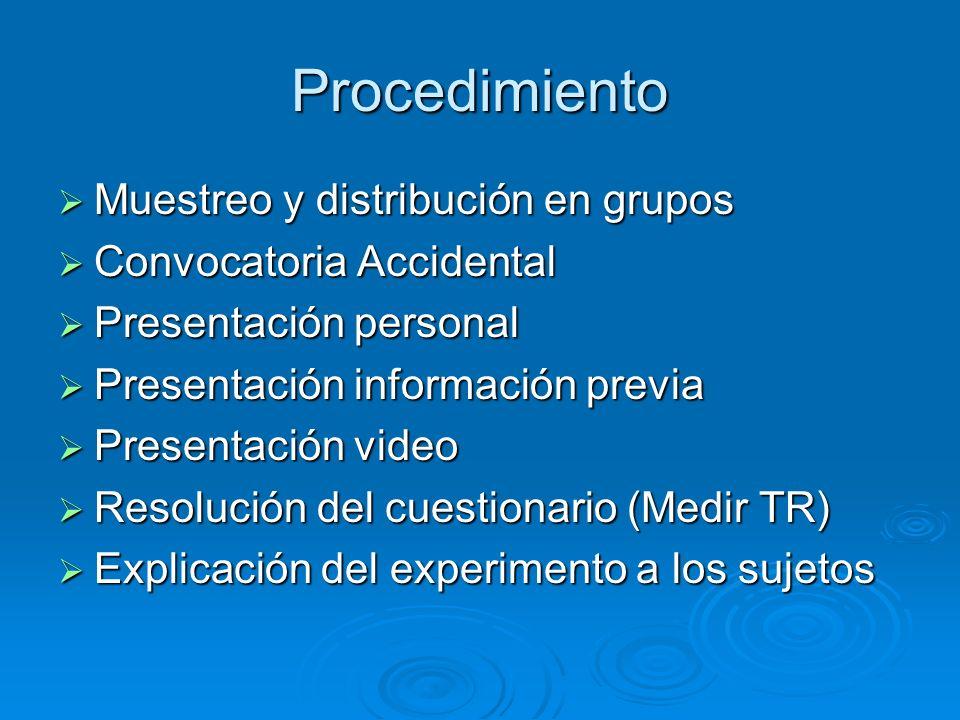 Procedimiento Muestreo y distribución en grupos Muestreo y distribución en grupos Convocatoria Accidental Convocatoria Accidental Presentación persona