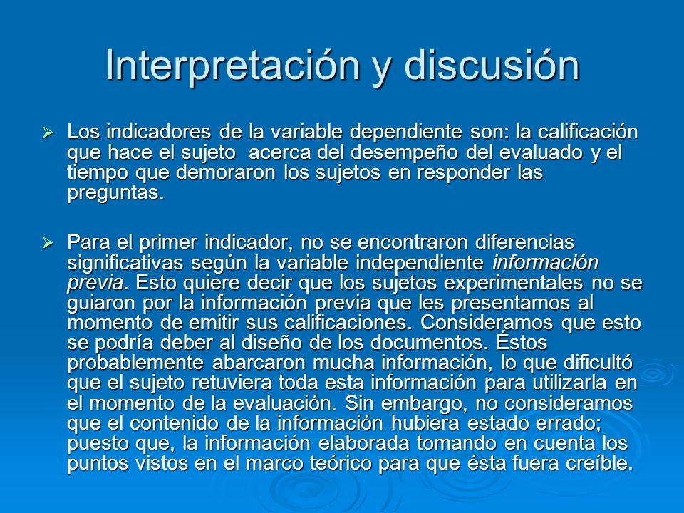 Interpretación y discusión Los indicadores de la variable dependiente son: la calificación que hace el sujeto acerca del desempeño del evaluado y el t